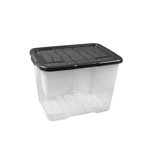 24 Litre Clear Crate with Black Lid