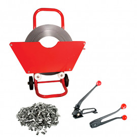 Steel Strapping Kit 19mm with Dispenser, Tensioner, Crimper and Seals.