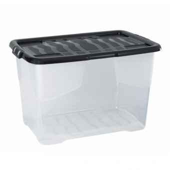 65 Litre Clear Crate with Black Lid